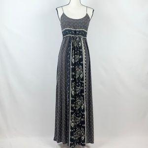 Lovestitch Gray & Black Bandanna Print Maxi Dress